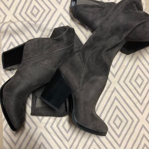 3930b8f0372 NEW Marc Fisher Grey Faux Suede Thigh Boots Sz 7